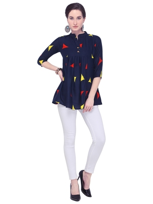 Navy blue printed rayon party tops