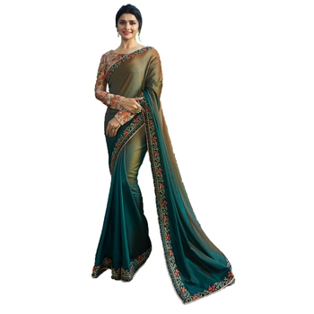Grey embroidered faux georgette saree with blouse