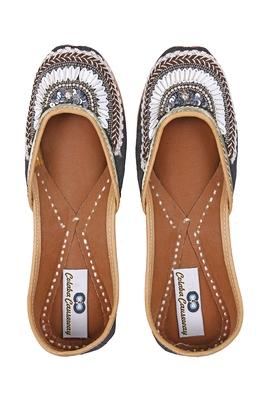 black solid ethnic women footwear