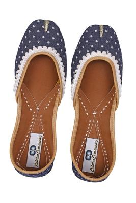 blue solid ethnic women footwear