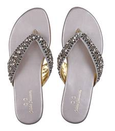 SILVER solid ethnic women footwear