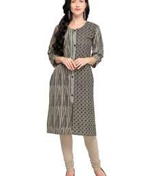 Grey printed cotton kurti