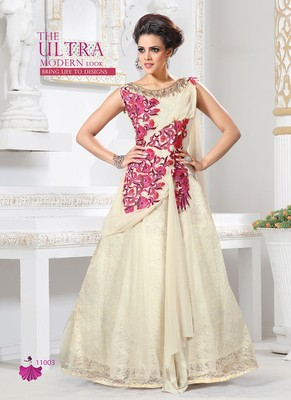 6fc50e824c Off White Embroidered Net semi-stitched party-wear-gown - V and V ...