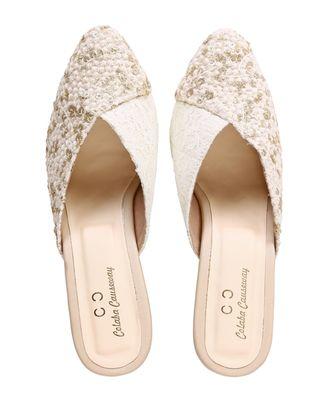cream solid party women footwear