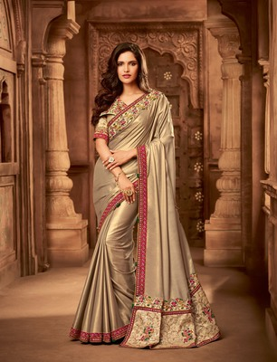 Gold embroidered georgette saree with blouse
