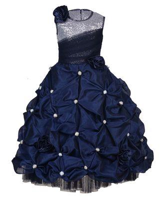 blue plain Net kids girl gowns