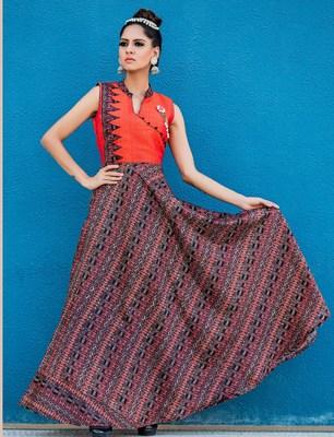 Orange printed silk long kurti