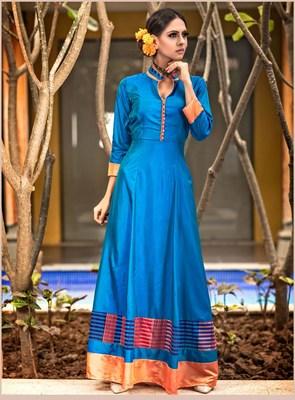 Blue plain silk long kurti