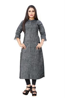 Black hand woven cotton long-kurtis