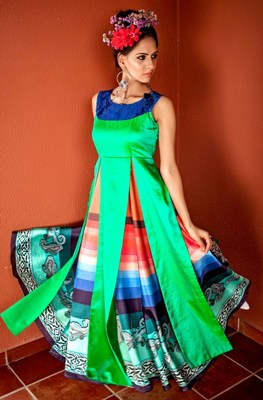 Dark-parrot-green plain silk kurti