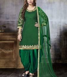 Dark Green Embroidered Art Silk Salwar With Dupatta