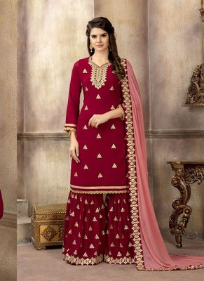 Crimson embroidered faux georgette salwar with dupatta