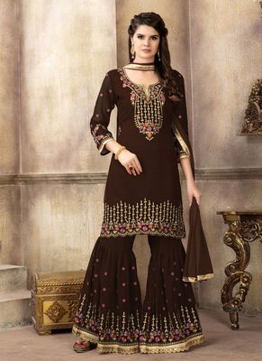 Brown embroidered faux georgette sharara suits