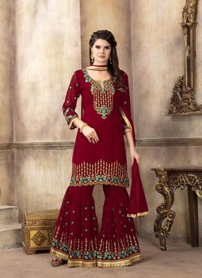 Crimson embroidered faux georgette sharara suits