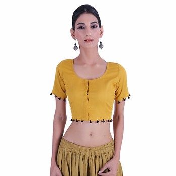 Yellow plain Cotton stitched blouse