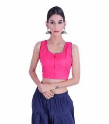 Pink plain Cotton stitched blouse