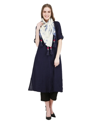 Navy-blue embroidered cotton kurti