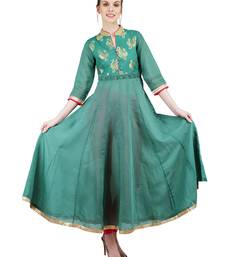 Green embroidered cotton silk kurti