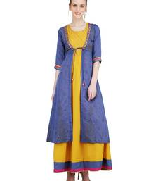 Mustard embroidered viscose kurti