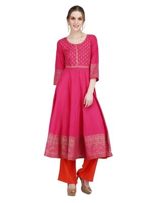 Pink printed cotton silk kurti