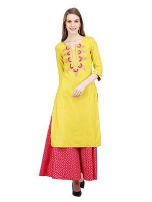 Yellow solid cotton kurti