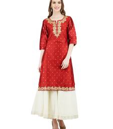 Maroon printed cotton silk kurti