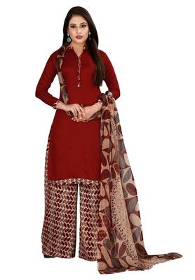 Maroon Printed Rayon Readymade Salwar With Dupatta