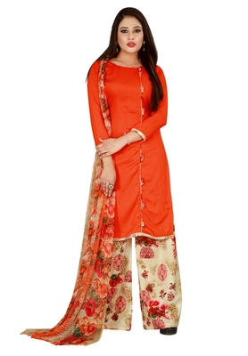 Orange Printed Rayon Readymade Salwar With Dupatta