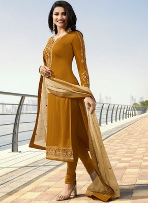 Mustard Embroidered Georgette Kameez