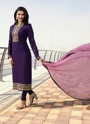 Purple Embroidered Georgette Kameez