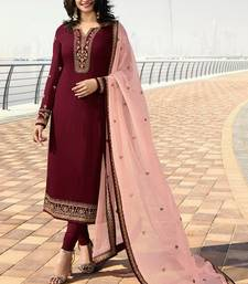 Maroon embroidered georgette kameez with dupatta