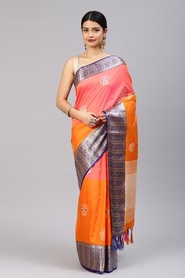 Orange woven katan silk saree with blouse