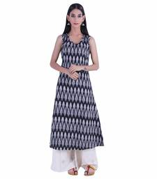 Black printed ikat cotton kurti