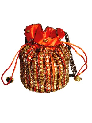 Designer Potli Bag with Beadwork For Women Orange
