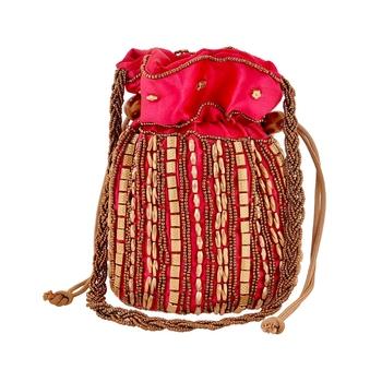 Designer Potli Bag with Beadwork For Women Magenta