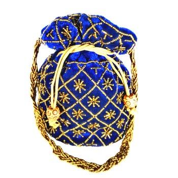 Hand Embroidered Velvet Potli Bag for Women / Girls (Blue)