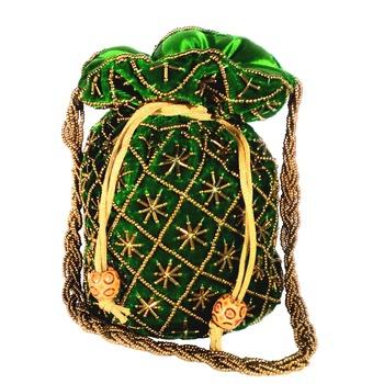 Hand Embroidered Velvet Potli Bag for Women / Girls (Green)