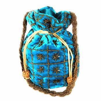 Hand Embroidered Velvet Potli Bag for Women / Girls (Skyblue)