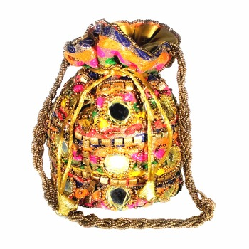 Hand Crafted Mirror Work Rajasthani Style Ethnic Potli Bag for Women / Girls (Multicolor)