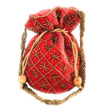 Hand Embroidered Velvet Potli Bag for Women / Girls (Red)