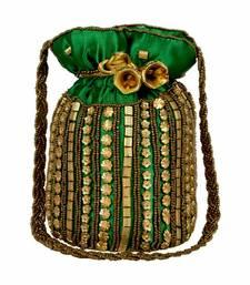 Designer Potli Bag with Beadwork For Women Green