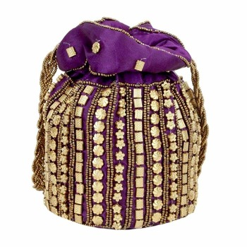 Designer Potli Bag with Beadwork For Women Purple