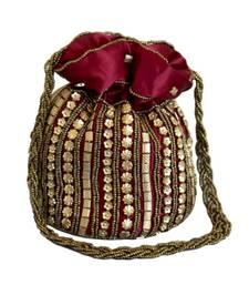Designer Potli Bag with Beadwork For Women Maroon