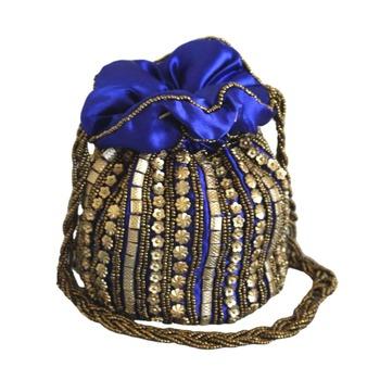 Designer Potli Bag with Beadwork For Women Blue