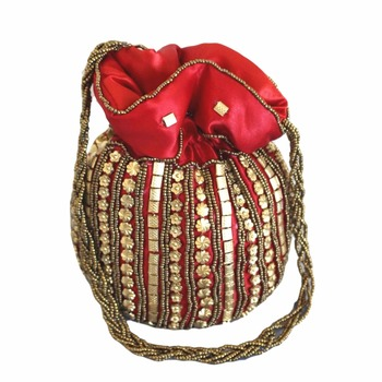 Designer Potli Bag with Beadwork For Women Red