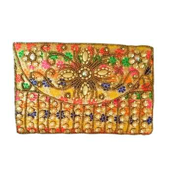 Rajasthani Style Hand Embroidered Bridal Clutch for Women Multicolor