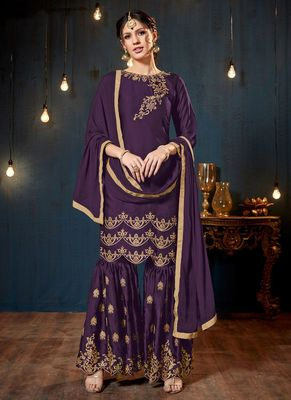 Purple embroidered georgette sharara suits