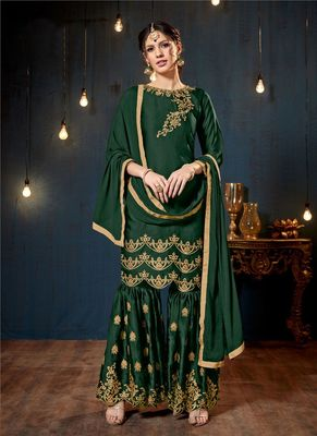Green embroidered georgette sharara suits