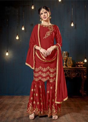 Red embroidered georgette sharara suits