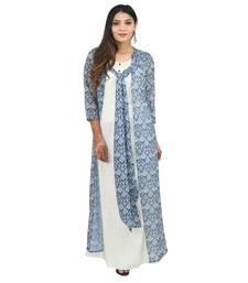 Blue printed georgette kurti
